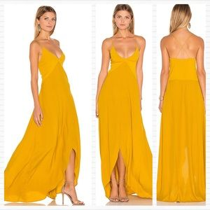 REVOLVE S/W/F Mustard Yellow Dress Slit Slip Maxi